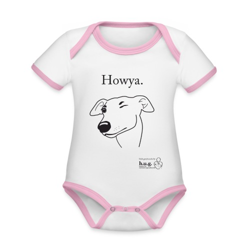 Howya Greyhound in black - Organic Baby Contrasting Bodysuit