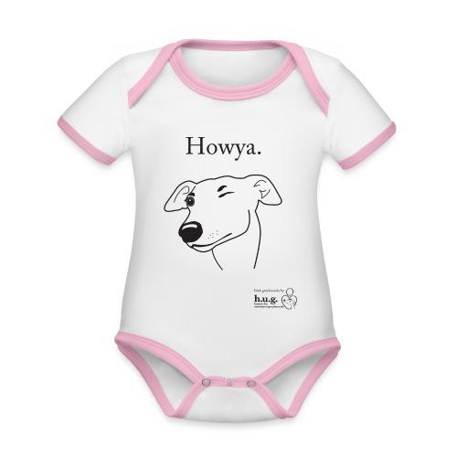 Howya Greyhound in black - Organic Baby Contrasting Bodysuit