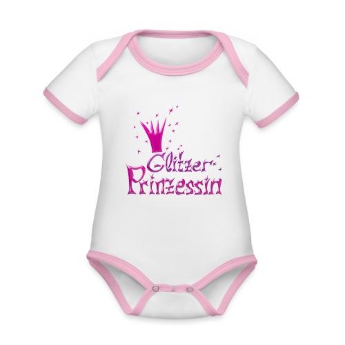 Rosa Glitzer Prinzessin - Baby Bio-Kurzarm-Kontrastbody