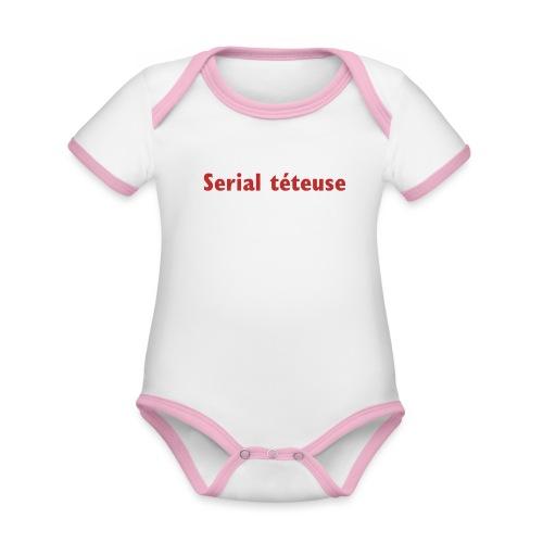 Serial téteuse - Body Bébé bio contrasté manches courtes