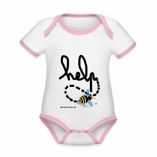 Help abeille texte noir - Body Bébé bio contrasté manches courtes