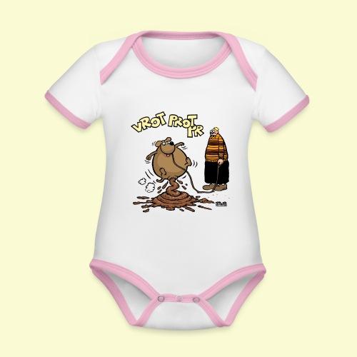 DIRKJAN Hondenpoep - Baby contrasterend bio-rompertje met korte mouwen