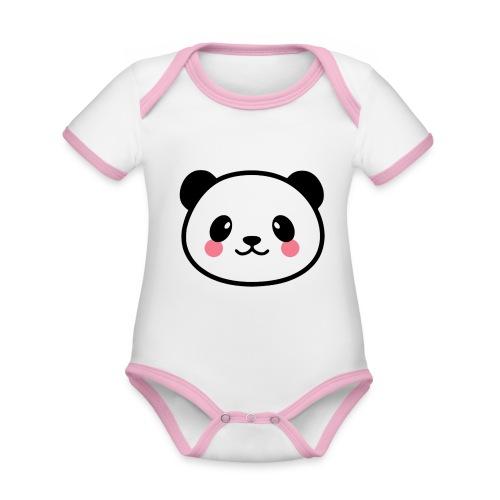 Panda Tout Rond - Body Bébé bio contrasté manches courtes