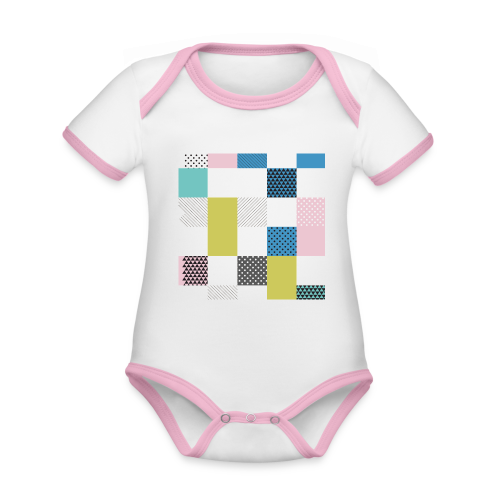 Abstract art squares - Organic Baby Contrasting Bodysuit