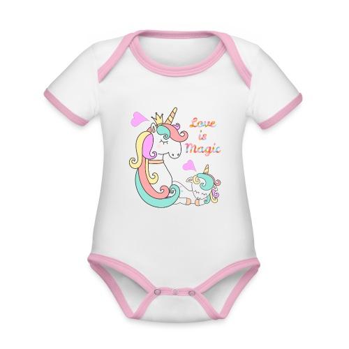 Love is magic - Body da neonato a manica corta, ecologico e in contrasto cromatico