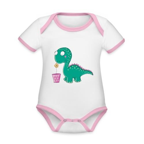 Kleiner Dinosaurier mit Blumentopf - Baby Bio-Kurzarm-Kontrastbody