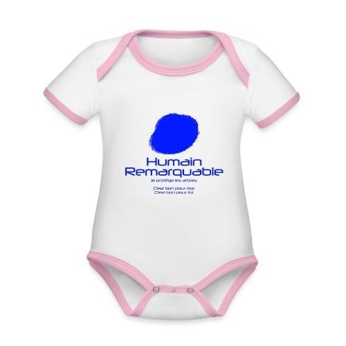 Humain Remarquable - Body Bébé bio contrasté manches courtes