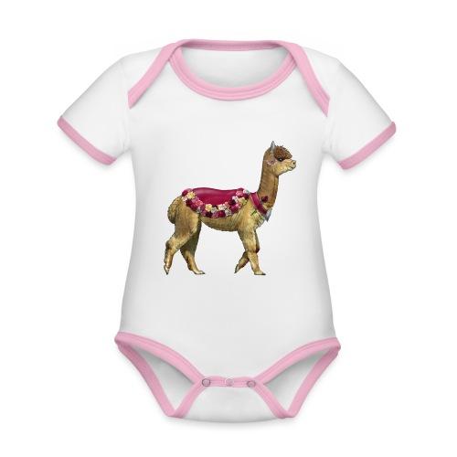 VINTAGE LAMA BLOEMEN - Baby contrasterend bio-rompertje met korte mouwen