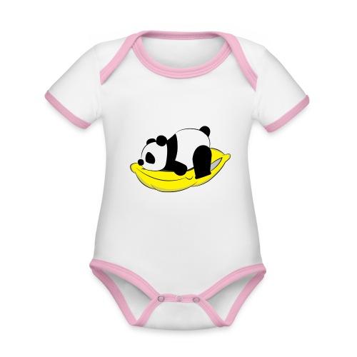 Panda Sleeping / Panda durmiendo - Body contraste para bebé de tejido orgánico