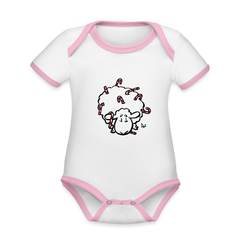 Candy Cane Sheep - Organic Baby Contrasting Bodysuit