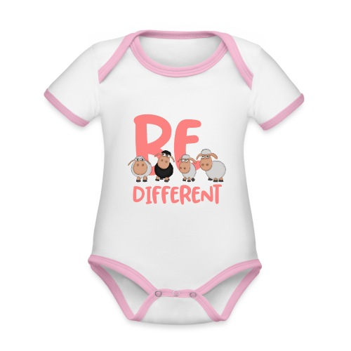 Be different pink sheep - Unique sheep - Organic Baby Contrasting Bodysuit
