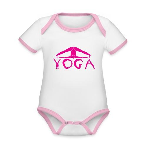 yoga yogi viola spiritualità amore namaste sport - Body da neonato a manica corta, ecologico e in contrasto cromatico