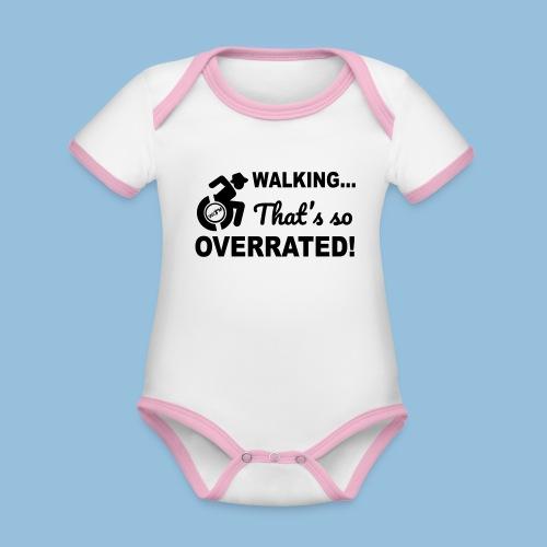 Walking is so overrated 005 - Baby contrasterend bio-rompertje met korte mouwen
