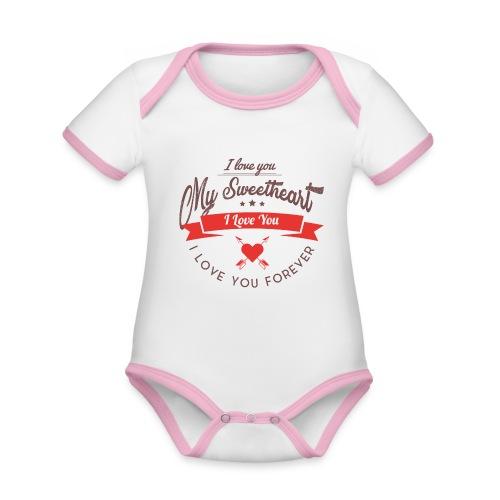 my sweetheart - Ekologiczne body niemowlęce z krótkim rękawem i kontrastowymi lamówkami