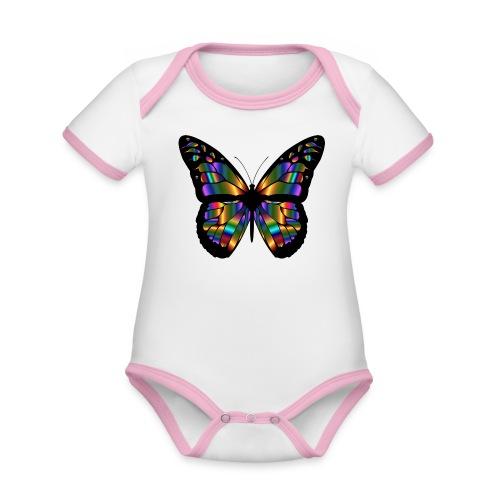 papillon design - Body Bébé bio contrasté manches courtes