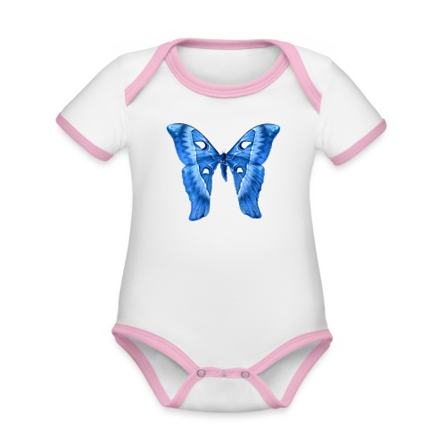 Herkules Falter Blau - Baby Bio-Kurzarm-Kontrastbody