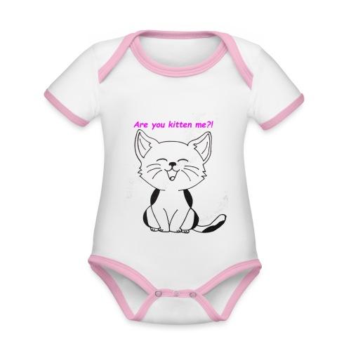 are you kitten me - Baby contrasterend bio-rompertje met korte mouwen