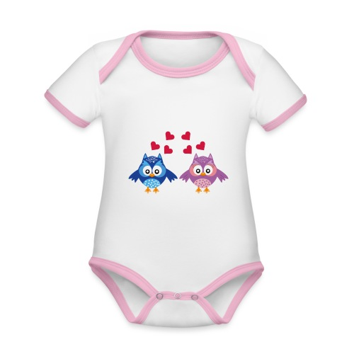 Leuke schattige verliefde uiltjes - Baby contrasterend bio-rompertje met korte mouwen