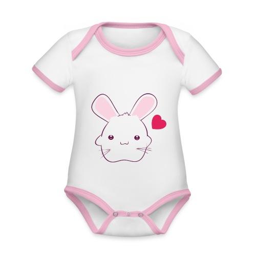 Konijn voor meisjes - Baby contrasterend bio-rompertje met korte mouwen