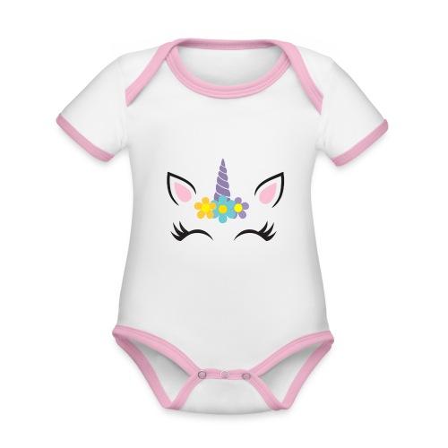 Unicornio - Body contraste para bebé de tejido orgánico