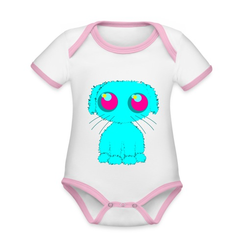 Dog, turquoise puppy with big pink eyes - Organic Baby Contrasting Bodysuit