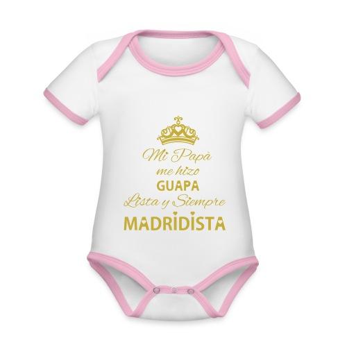 guapa lista siempre madridista - Body da neonato a manica corta, ecologico e in contrasto cromatico