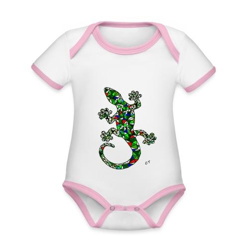 lucertola - Body da neonato a manica corta, ecologico e in contrasto cromatico