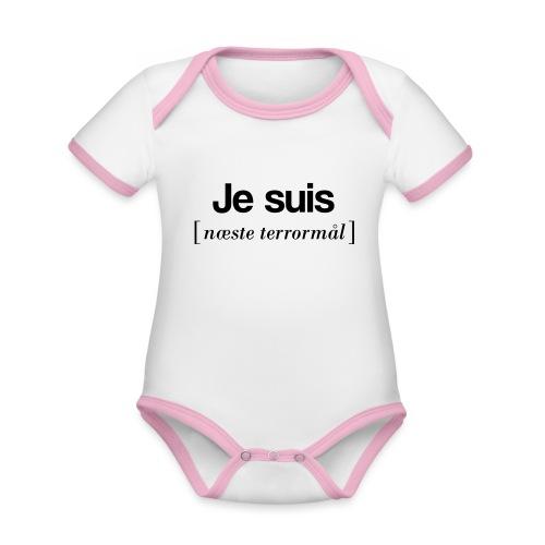 Je suis (sort skrift) - Kortærmet økologisk babybody i kontrastfarver