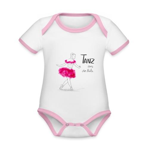 Ballerina mit rosa Tutu - Baby Bio-Kurzarm-Kontrastbody