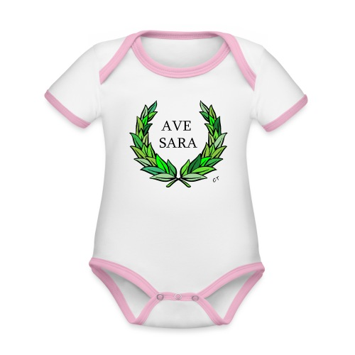 AVE SARA nome nascita modificabile a richiesta - Body da neonato a manica corta, ecologico e in contrasto cromatico