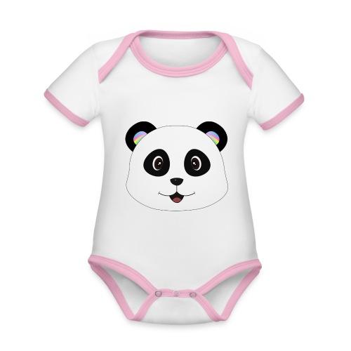 panda rainbow - Body contraste para bebé de tejido orgánico