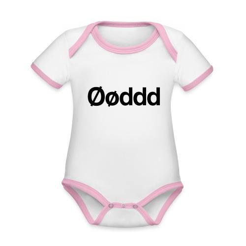 Øøddd (sort skrift) - Kortærmet økologisk babybody i kontrastfarver