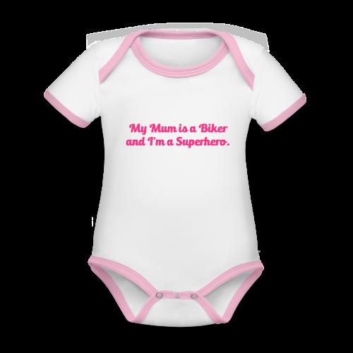 My Mum is a Biker - Vauvan kontrastivärinen, lyhythihainen luomu-body