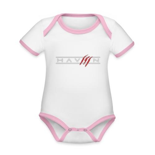 Logo Wit - Baby contrasterend bio-rompertje met korte mouwen