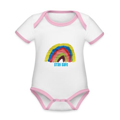 Stay Safe Rainbow Tshirt - Organic Baby Contrasting Bodysuit