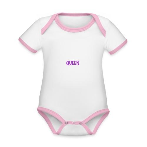 QUEEN - Body da neonato a manica corta, ecologico e in contrasto cromatico