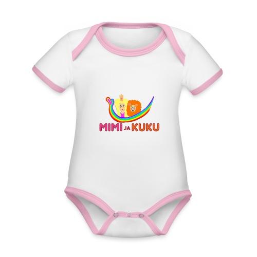Mimi ja Kuku- sateenkaarilogolla - Vauvan kontrastivärinen, lyhythihainen luomu-body