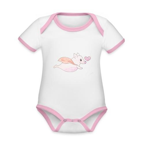 Kids for Kids: Flying Pigs - Baby Bio-Kurzarm-Kontrastbody