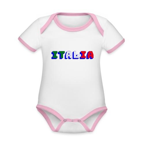 Italia - Body da neonato a manica corta, ecologico e in contrasto cromatico