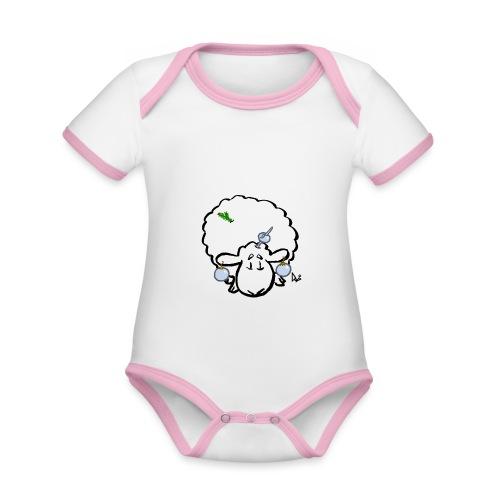 Owca choinkowa - Ekologiczne body niemowlęce z krótkim rękawem i kontrastowymi lamówkami