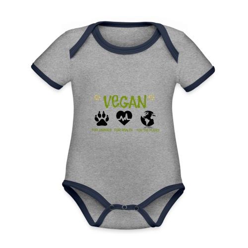 Vegan for animals, health and the environment. - Body contraste para bebé de tejido orgánico