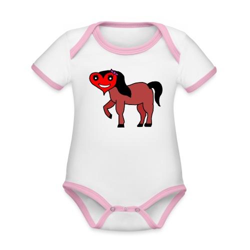 Herz Pferd fohlen - Baby Bio-Kurzarm-Kontrastbody