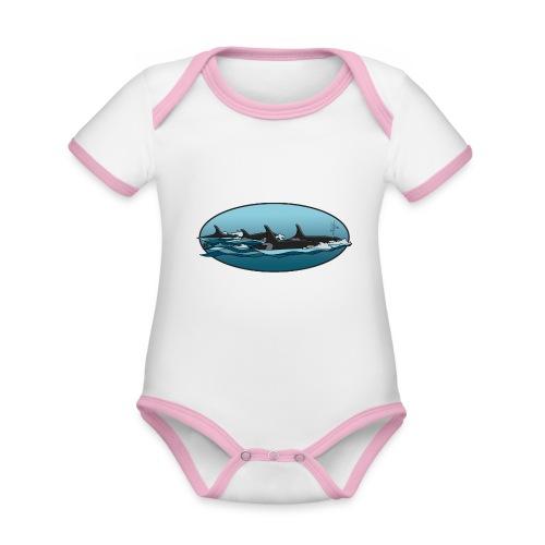 Orca - Baby contrasterend bio-rompertje met korte mouwen