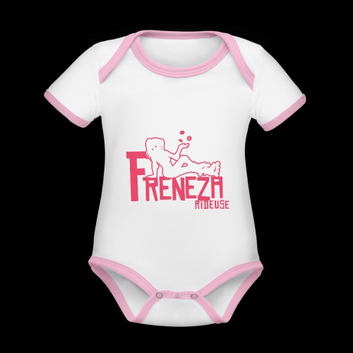Freneza rideuse pink - Body Bébé bio contrasté manches courtes