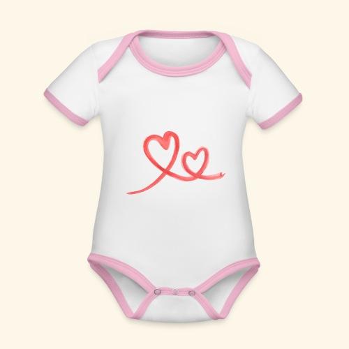 Duo Cœur Main levée - Saint Valentin - Body Bébé bio contrasté manches courtes