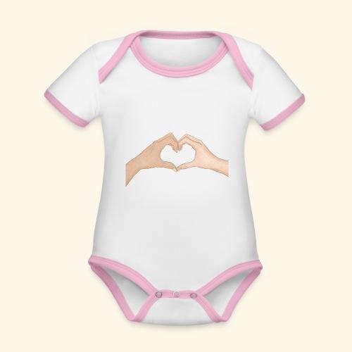 Mains Coeur Amour - Love hands - Body Bébé bio contrasté manches courtes