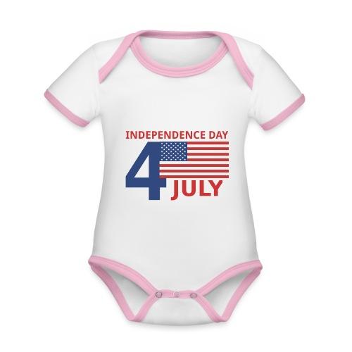 4 luglio giorno della indipendenza - Body da neonato a manica corta, ecologico e in contrasto cromatico