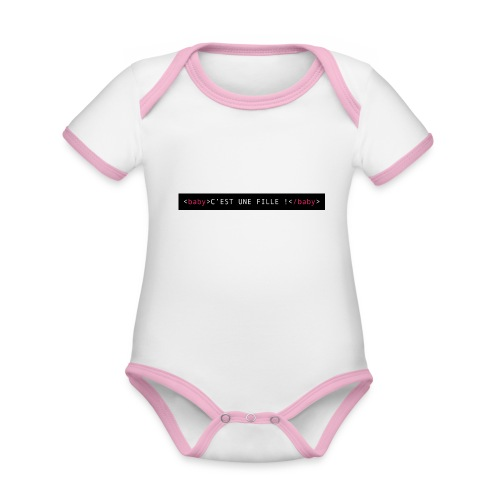 Annoncez-le en HTML - fille - Body Bébé bio contrasté manches courtes