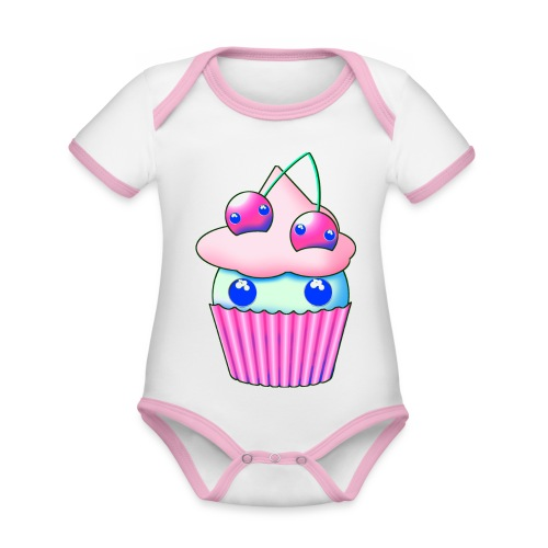 Sweet muffins with pink cherry and eyes - Organic Baby Contrasting Bodysuit