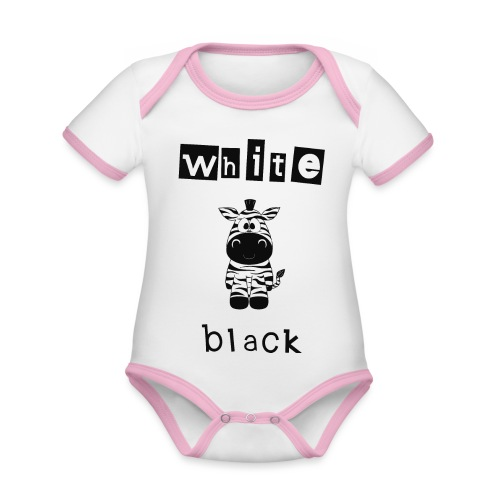 Zebra black or white - Baby Bio-Kurzarm-Kontrastbody
